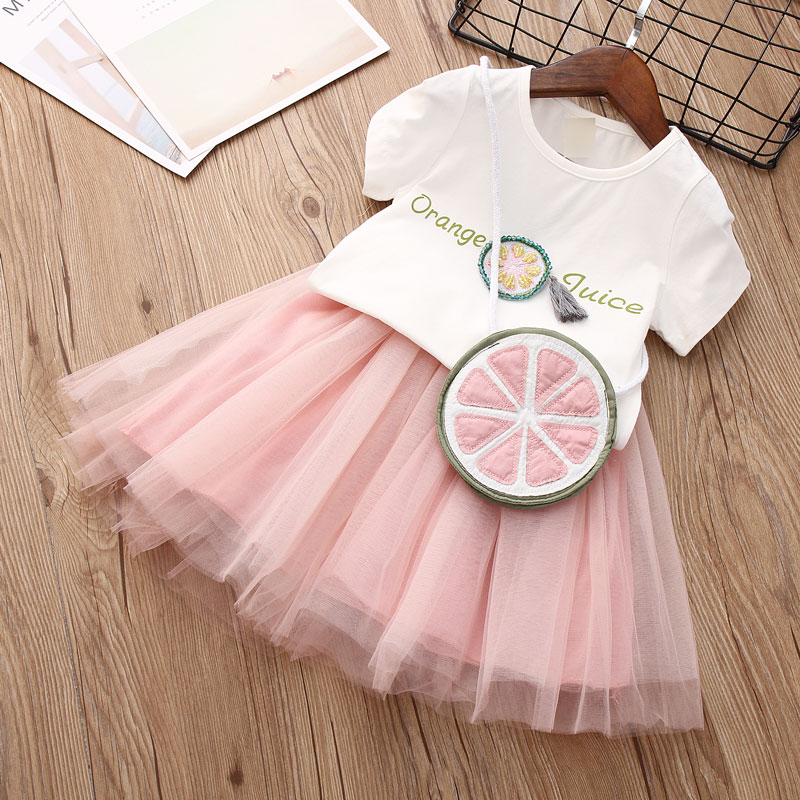 Baby Summer Dress 2018 Casual Summer Style Girls Clothing Set White Lace T-shirt+Skirt With A bag 3pcs Suits Kids Clothes O-Neck