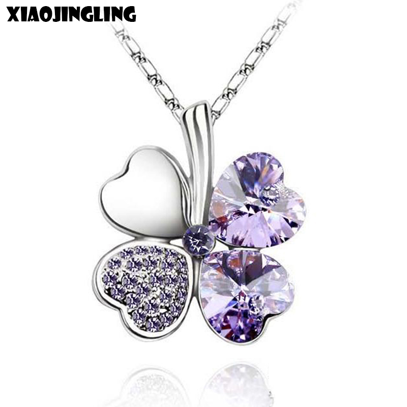 XIAOJINGLING New Fashion Clover Necklaces & Pendants Purple Crystal Long Sweater Necklace For Women Jewelry Christmas Gifts 2017