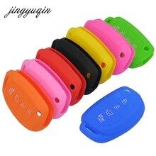 Jingyuqin silicone flip fob chave do carro caso para hyundai ix45 santa fe i30 i35 i40 genesis dobrável 4 botão remoto proteger capa