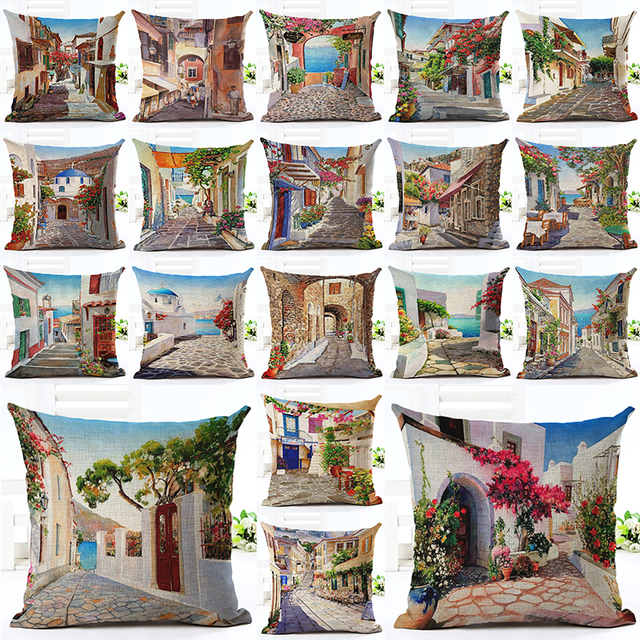 2016 New Arrival 45x45 Creative Fashion Street Building Print Fundas Cotton Linen Cushion Cover Sofa Cushion Home Decor Cojines