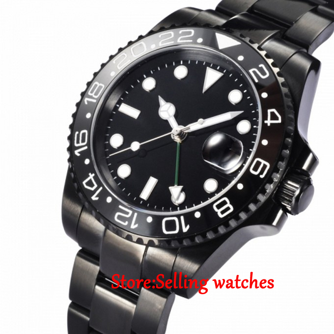 40mm Parnis PVD Sapphire Ceramic Bezel Green GMT Hands Mens Automatic Watches40mm Parnis PVD Sapphire Ceramic Bezel Green GMT Hands Mens Automatic Watches