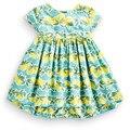 Girl Summer 2016 Vintage Dress Audrey Hephurn Retro Small Lemon Cotton Tank Dress with Green Leaves cotton dress free shipping