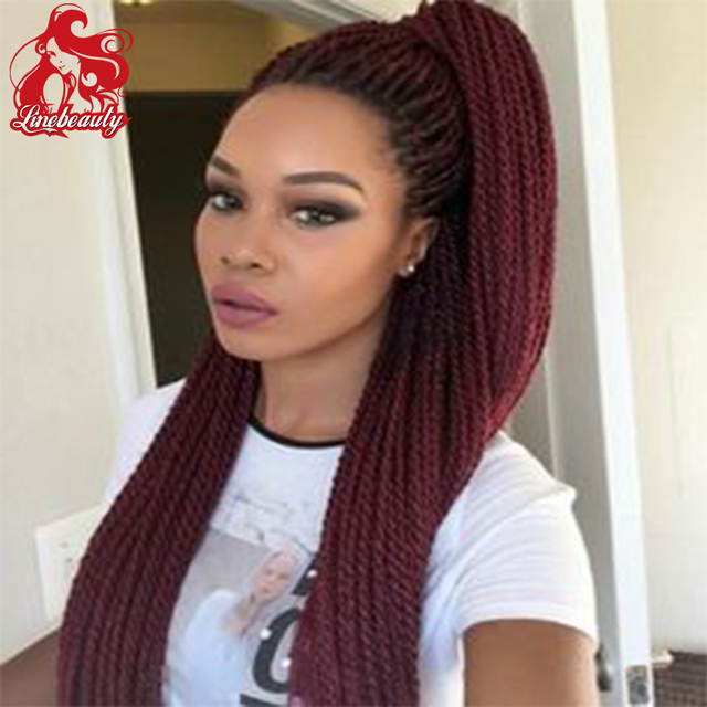 Heat Reseident Synthetic Wine Red Braiding Hair Braided Lace Front