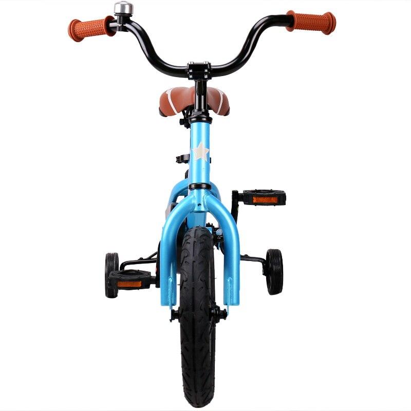 12 Inch Kids Bike Totem DIY Blue Steel Kids Bike DIY Sticker Kids Bicycle with Detachable Training Wheels and Bell