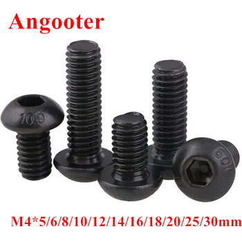 50pcs ISO7380 M4 Black Screws Grade 10.9 Hexagon Socket Button head Screw Round Head Mushroom Machine Screws Bolts image