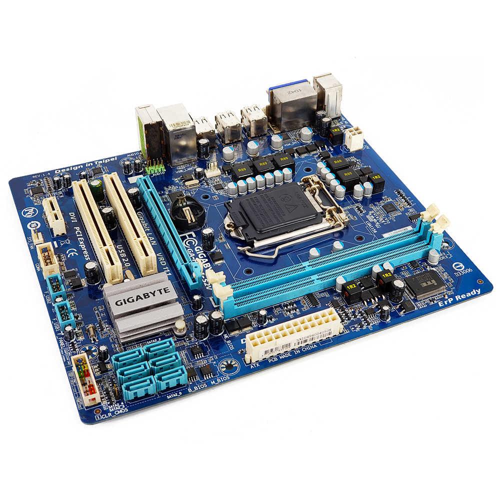 Gigabyte GA-H55M-S2V Desktop Papan Utama H55M-S2V H55 LGA 1156 Core I7 I5 I3 DDR3 8G SATA2 USB2.0 Vga Dvi Mikro -ATX