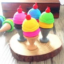 48 יח\חבילה חמוד קרח קרם 3D גומי מחקים לילדים יפה כתיבה יצירתית מתנה מוצר ילדי משרד ציוד לבית ספר