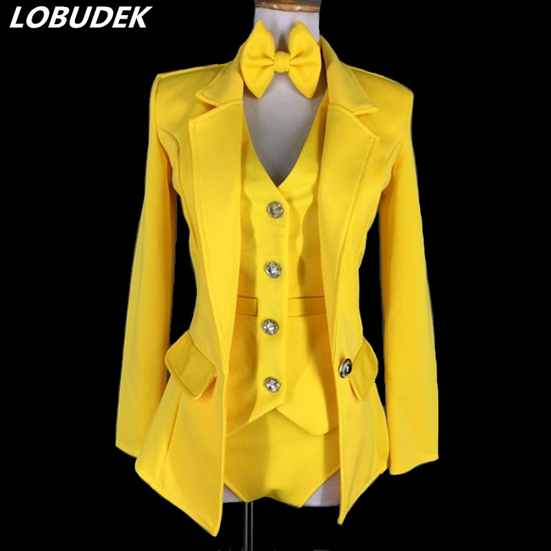 Female Modern Dance Costume Yellow Vest Coat Shorts 3 Pieces Set Jazz Dance Teams Performance Stage Outfit Nightclub DJ Costumes