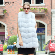 DUOUPA  hot new natural fox fur long vest real gilet winter high quality women coat BIG SALE FREE SHIPPING