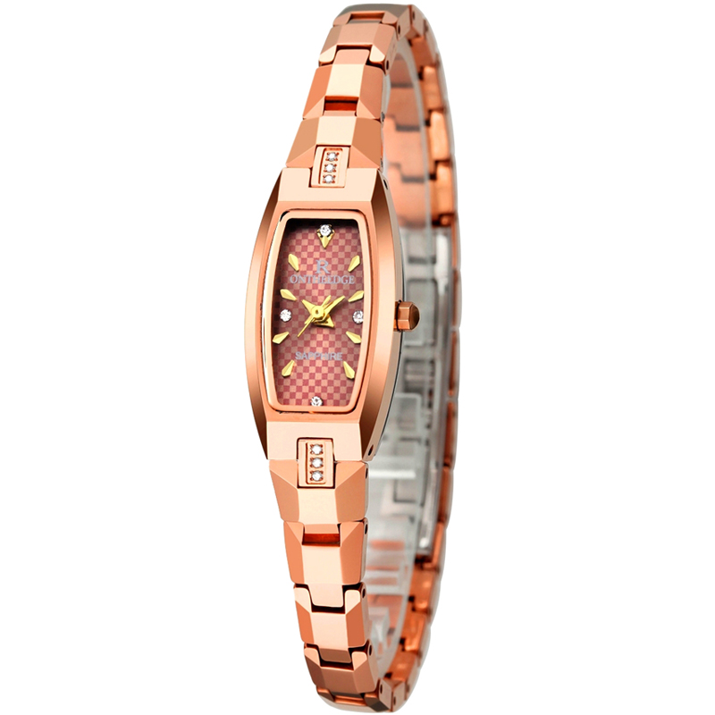 Tungsten-Watch Rose-Gold-Color Femme Ladies with Natural Zircons-On-Case Super-Slim Fashion