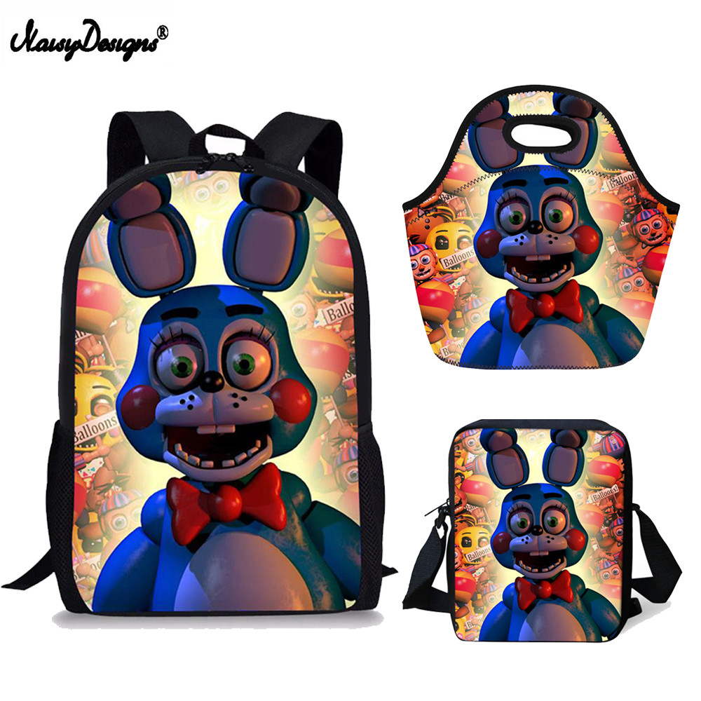 8d0025a462 3set PCS Backpack Childrens 17Inch Kids Five Nights at Freddys Anime Backpack  Children Schoolbags For Teen Girls School Book Bag