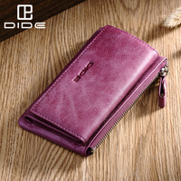 DIDE Multifunction Genuine Leather Purse Wallet Women Large Capacity Car key ring Zipper Women's Purse Ladies Card Holder