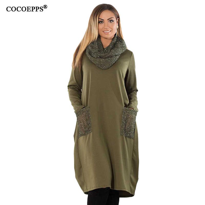 COCOEPPS 5XL 6XL зимнее свободное женское платье большого размера s Повседневное платье с длинным рукавом Новинка 2019 размера плюс женская одежда синего цвета Vestidos