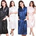Brand Long Robe Emulation Silk Soft Home Bathrobe Plus Size S-XXXL Nightgown For Women Kimono Robes Autunm Spring Winter Summer