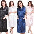Marca Larga Túnica de Seda de la Emulación Hogar Suave Albornoz Kimono Robes Camisón Para Las Mujeres Más El Tamaño S-XXXL Autunm Invierno Primavera Verano