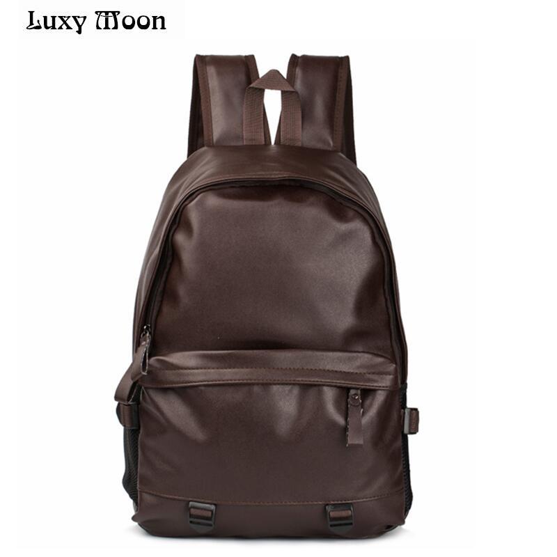 2016 New designer fashion black men's backpacks preppy style brown women high quality leather shoulder bag mochila feminina стоимость