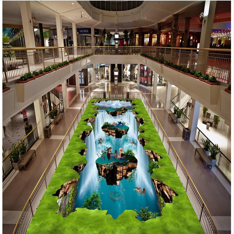 ФОТО Waterfall 3D wallpaper floor for living room  3D wall murals wallpaper floor    Custom Photo self-adhesive 3D floor