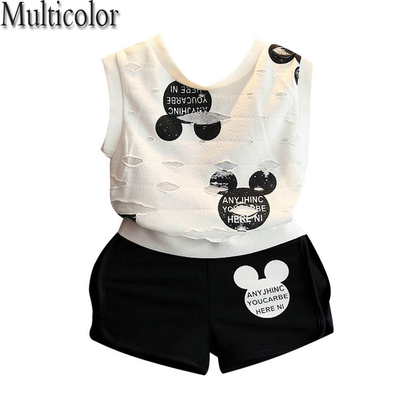 2017 New Brand Girls Minnie Sport Suit Cartoon Clothing Set Ripped White Shirt With Shorts For Kids Gilr's Children Set Clothing lucky brand new abbey white wash denim shorts 14 w32 $69 5 dbfl
