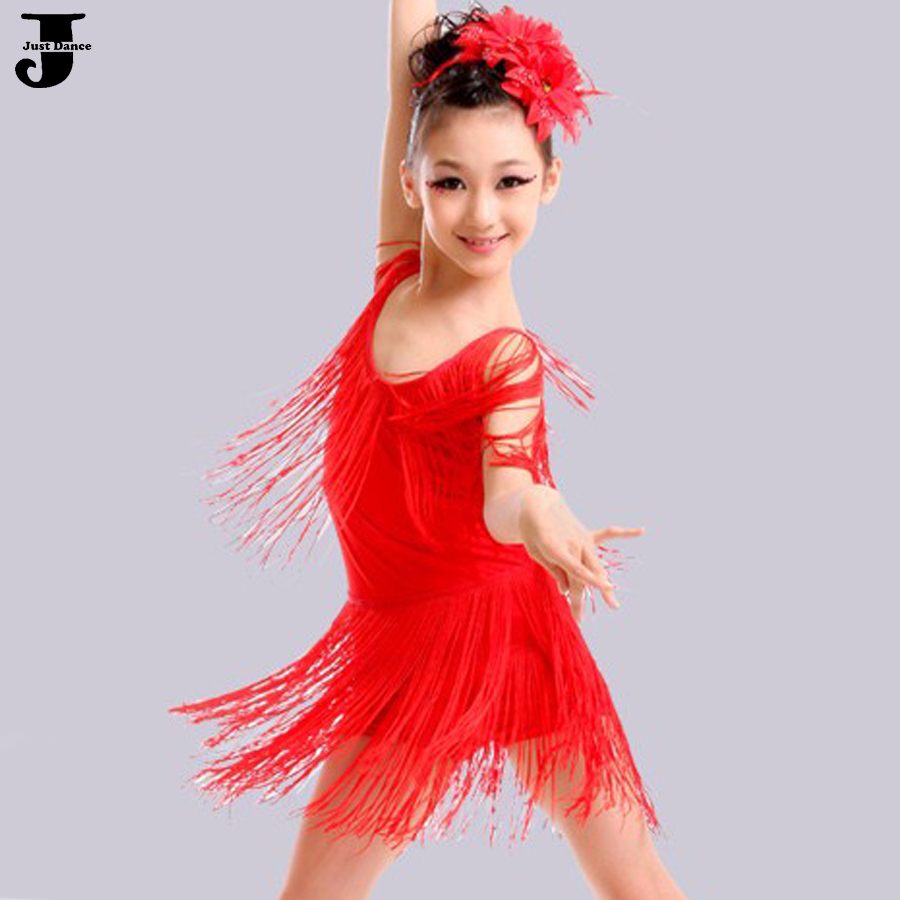 Children Latin Ballroom Dancing Dresses Red/Black Girls Dance Costumes Vestidos De Baile Latino Kids Salsa Skirt DQ4029 - Shenzhen City Just Garment Co.,Ltd store