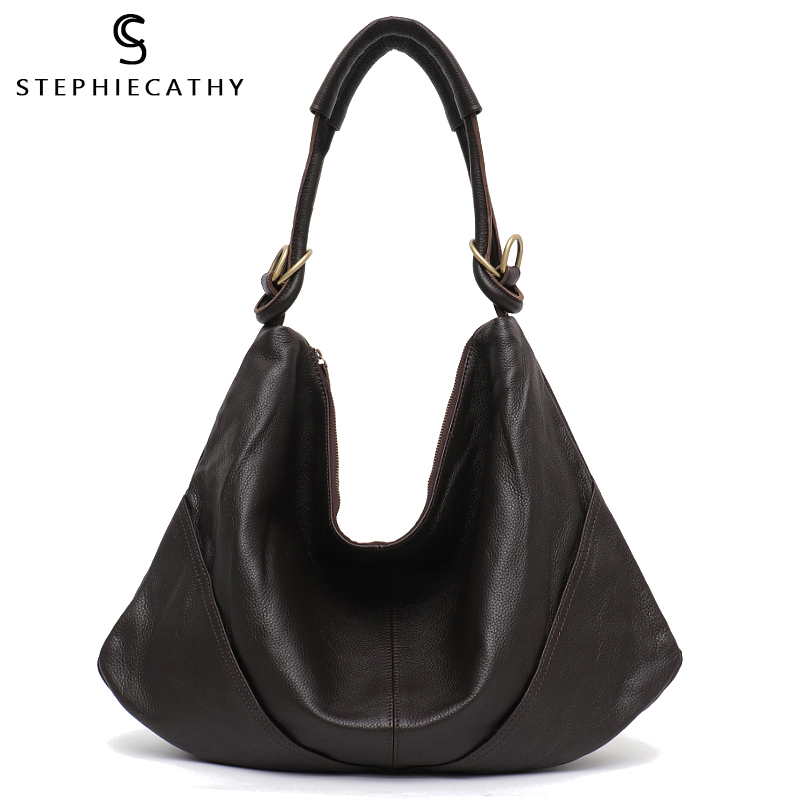 SC Soft Real Genuine Leather Women s Handbag Ladies Shoulder Bags Purse Hobo Black Brown Female