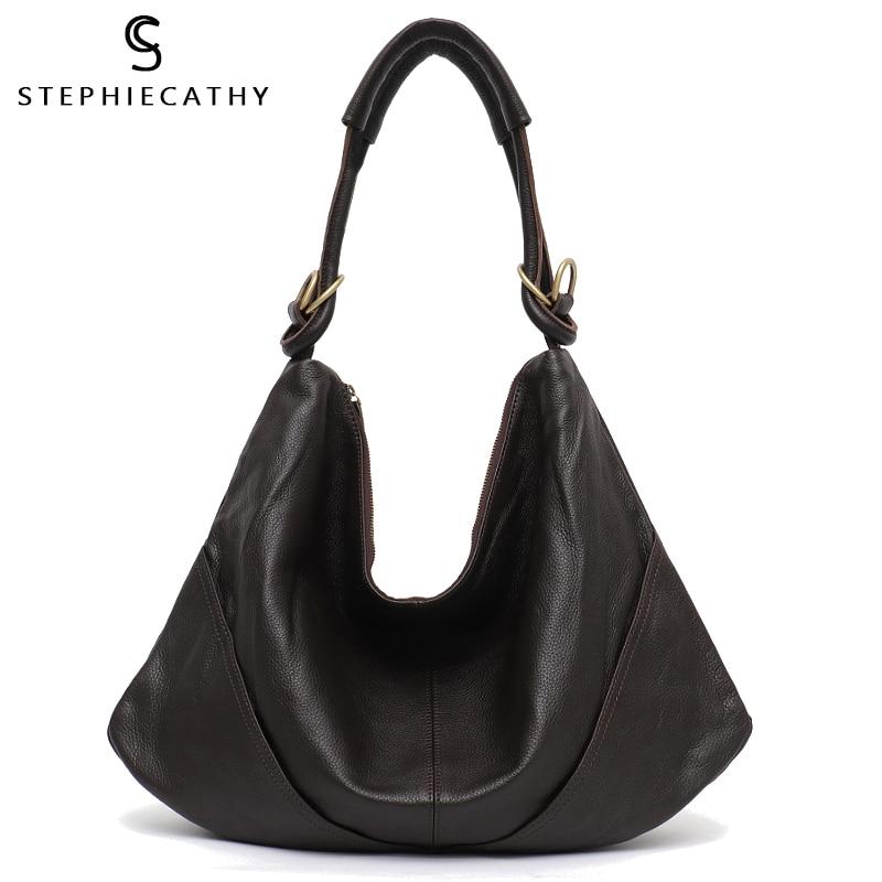SC Soft Real Genuine Leather Women s Handbag Ladies Shoulder Bags Purse Hobo Black Brown Female