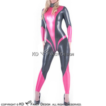 Rose Red With Metallic Pewter Sexy Space Latex Catsuit Back Zipper Rubber Bodysuit Zentai Overall LTY-0117