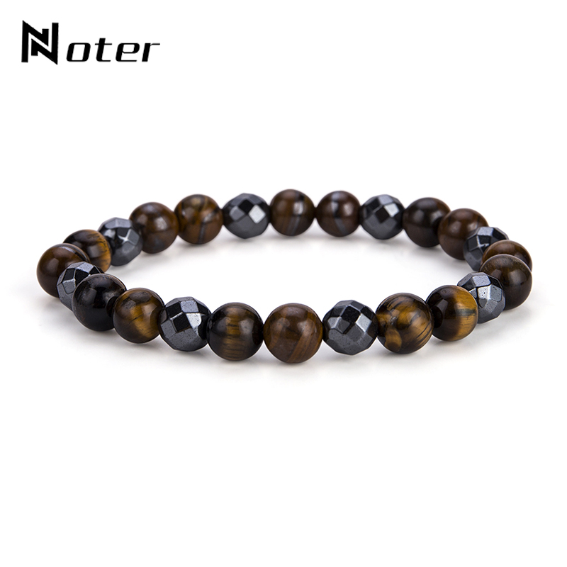 Noter Handmade Natural Stone Beads Tiger Eyes Mens Bracelet Charms Heamtite Buddha Braslet For Male Hand Wristband Jewelry Homme