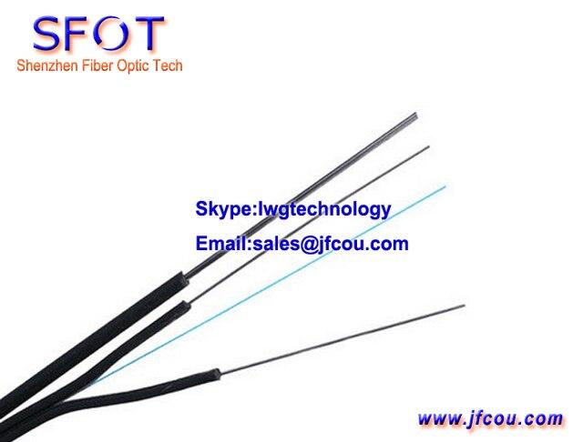 Ftth Fiber cable gota, 1 core, de color negro, exterior uso, con 3 aceros inoxidables, 1000 M / Roll