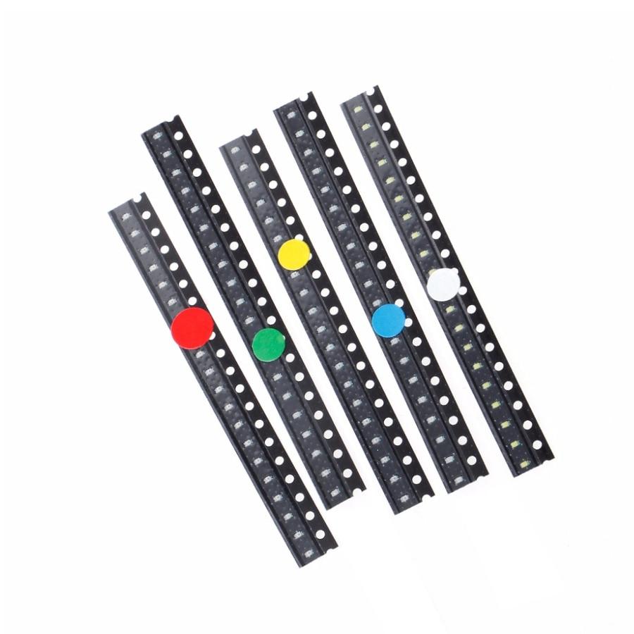 500Pcs/lot  5 Colors SMD 0603 LED Light Red Green Blue Yellow White Assotment Kit LED Lights SMD 5 Colors X100 Pcs=500pcs