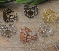 100pcs 6mm,8mm Pad ring blank Cameo Tray,AntiqueBronze/Gold/Silver Ring setting,Handmade DIY Zakka jewelry Finding