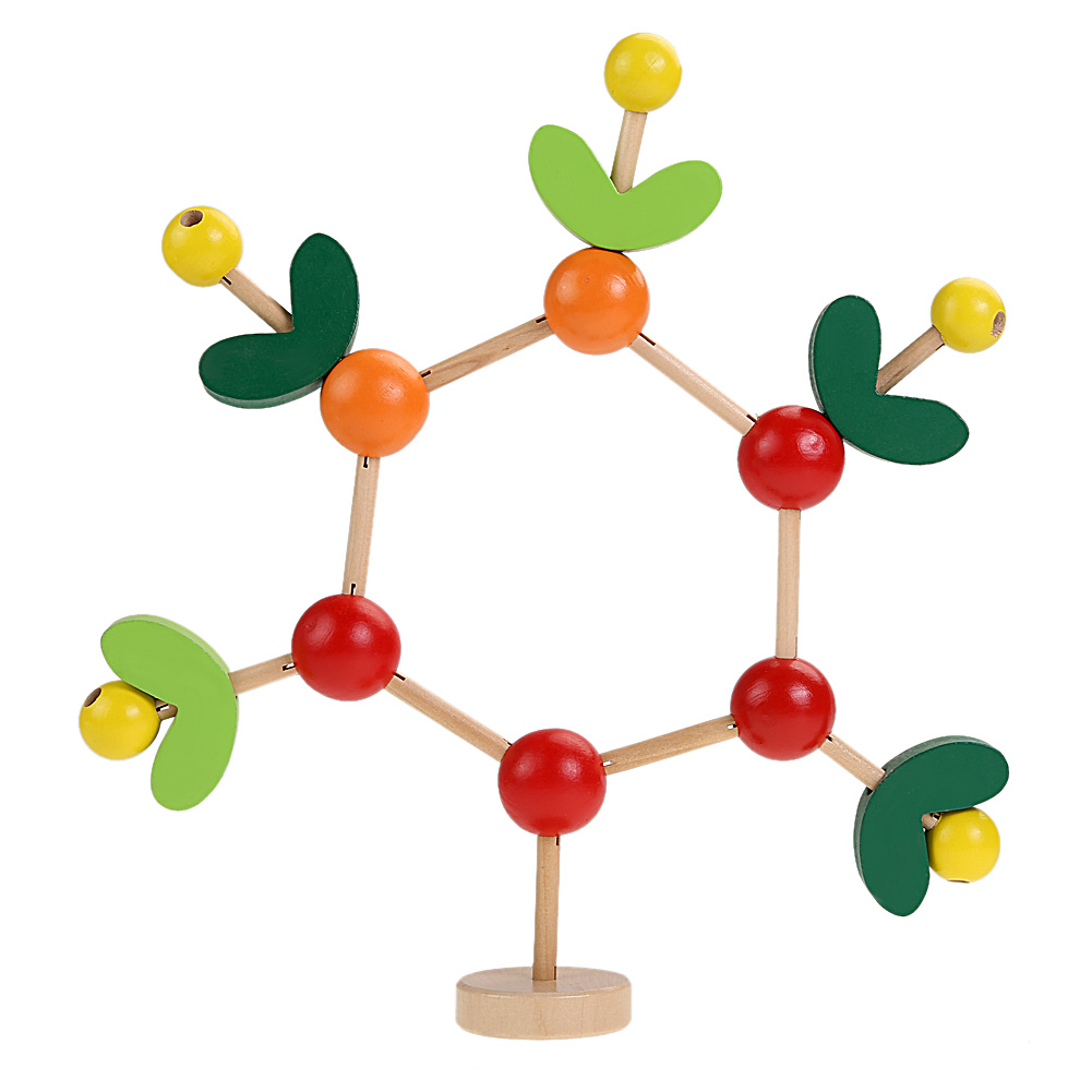 Baby Kids Wood Tree Shape Blocks Baby Kid DIY Colored Wooden Branches Leaves Fruits Blocks Children Educational Toy Gifts kids twist colored insects toys wooden educational toys wood intelligence baby diy block toy