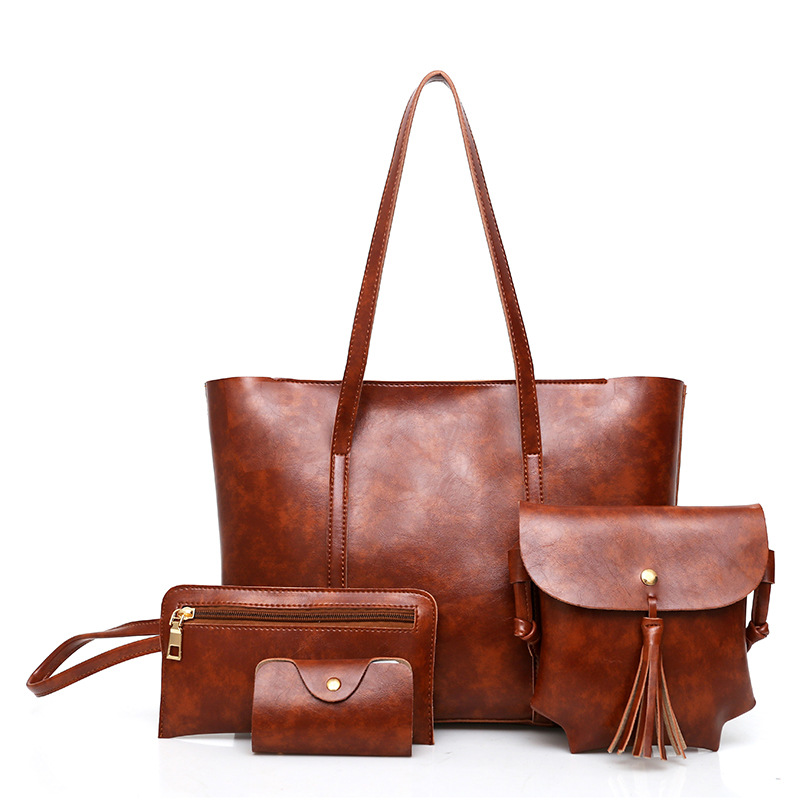 4pcs Retro Leather Bags Handbags Women Famous Brand Shoulder Bag Female Casual Tote Women Messenger Bag Set Bolsas Feminina стоимость