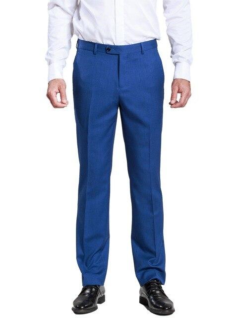 Для мужчин формальные Бизнес наклонных кармана тонкий прямой брюк синие штаны с Новое поступление Стиль для свадьбы мужской досуг костюм брюки