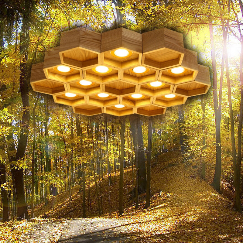 Wood Honeycomb LED Modern Pendant Lamp Indoor Dining Room Foyer Home Adornment Pendant Light 110-240V zg9048 pendant light ac 110 240v