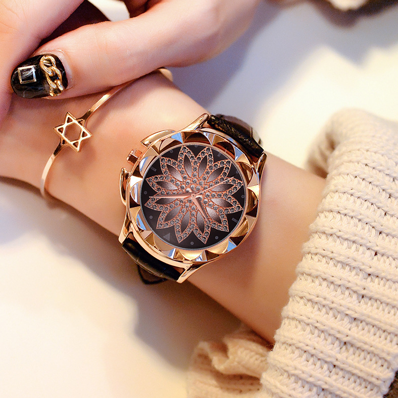 Luxury Brand Multicolor Women Watch Fashion Casual Crystal Dress Wristwatch Leather Strap Quartz Watch Female Clock