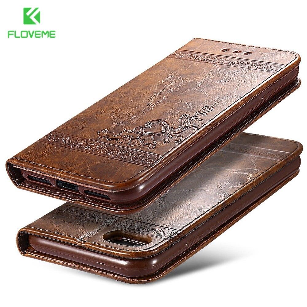 Fundas de bolso de teléfono FLOVEME para iPhone 7 6 6 s Plus soporte de cuero cartera accesorios móviles funda para iPhone 6 s 6 s de 7 5S 5 SE