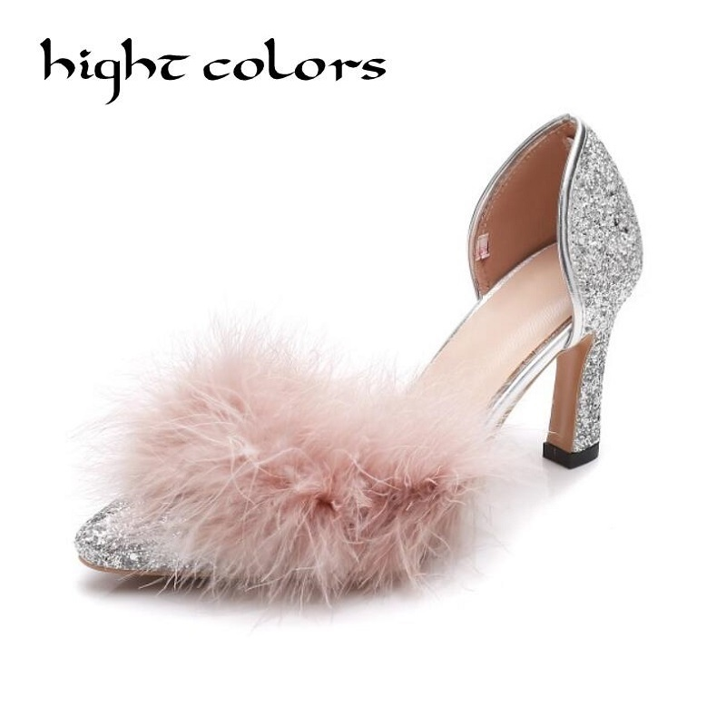 Dames Pompes Mariage Luxe Femmes Bout Hauts Yellow De Mujer Partie Zapatos pink Marque Talons Designer sliver Bling Sexy Fourrure Pointu Chaussures YxqgIwO