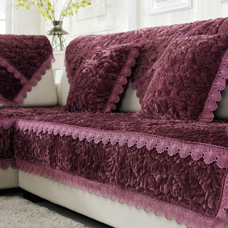 Thick Slip Resistant Couch Cover for Corner Sofa Made with Plush Fabric Including Lace for Living Room Decor 18