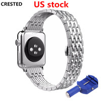 CRESTED Diamond stainless steel strap For Apple watch 4 band 44mm/40mm iwatch 3 2 1 42mm/38mm butrery Loop wrist bracelet
