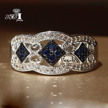 yayi jewelry fashion princess cut huge 22 ct blue zircon silver color engagement rings wedding rings - Huge Wedding Rings