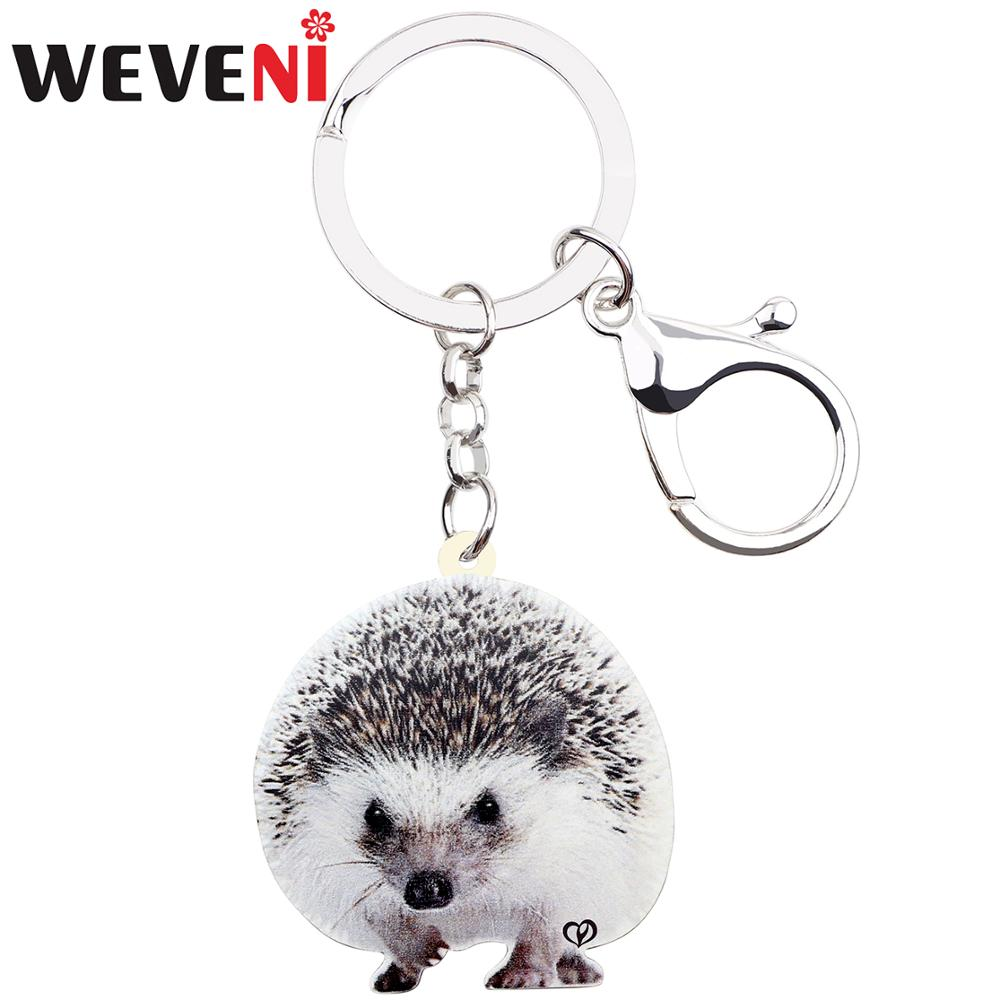 WEVENI Acrylic Cute Hedgehog Key Ring Keychain Wild Protected Animal Jewelry For Women Girls Bag Car Charms Decoration