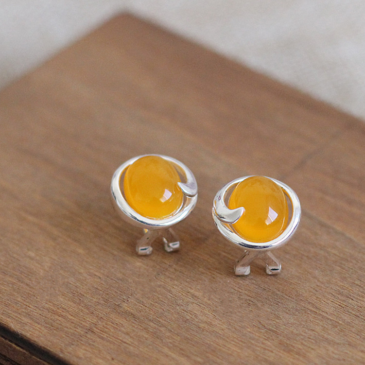 925 Sterling silver Natural semi-precious stones yellow chalcedony citrine retro simple fresh ladies yellow girlfriend gift