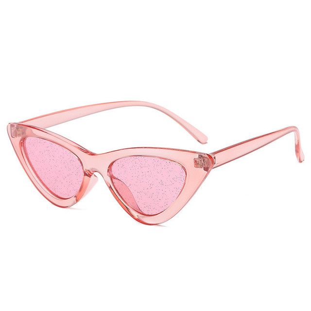 5f5cb216ef90 ZXRCYYL 2018 new Small Cateye Sunglasses Women Tint Sexy Shiny Lens Sun Glasses  Vintage Cat Eye