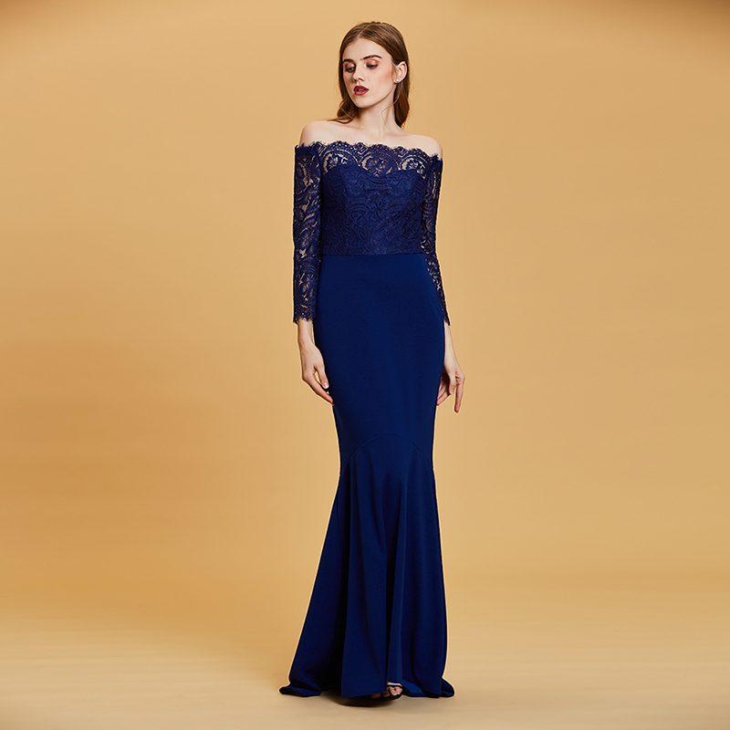 Купить с кэшбэком Tanpell boat neck evening dress dark royal blue lace floor length gown women wedding party mermaid formal long evening dresses