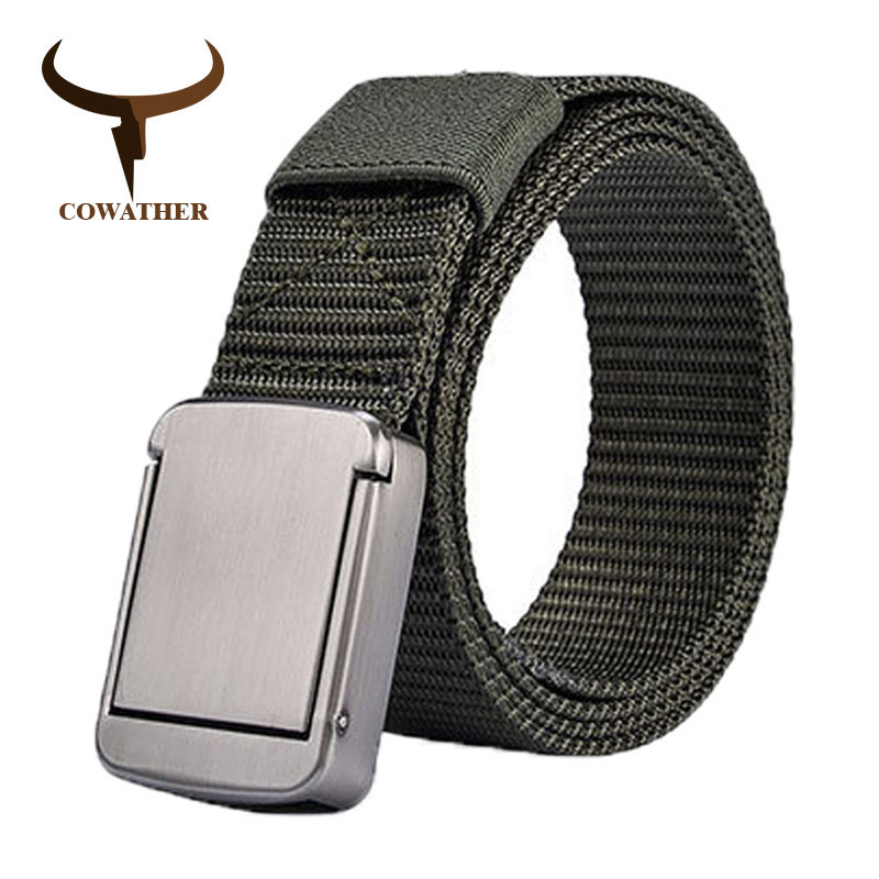 COWATHER Casual Nylon Belts For Men Canvas Male Strap Metal Buckle Military Outdoor Tactical Men Belt New Male Waistband NY006