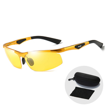 Vintage Sport Yellow Sunglasses Polarized Anti-Glare Lens Men Night Vision Glasses Car Goggles Driving Sun Glasses with Zip Case select a vision sport readers with rectangular lens black