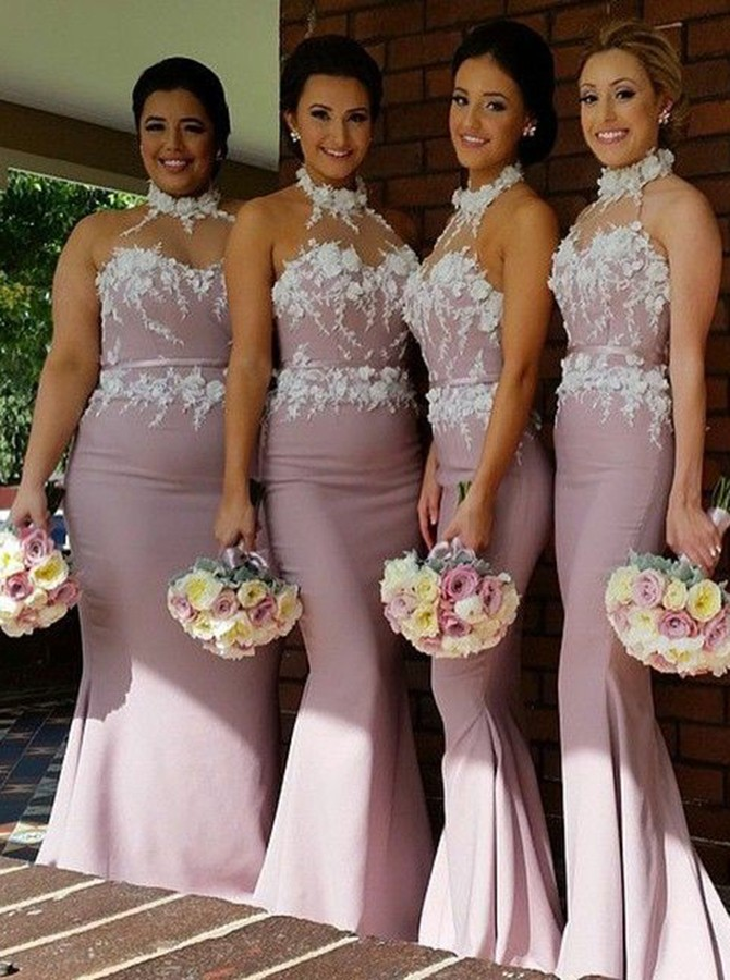 Boho Blush   Bridesmaid     Dresses   Plus Size Halter Elegant Mermaid Maid Of Honor   Dress   With Appliques Spring   Bridesmaid     Dress   Uk
