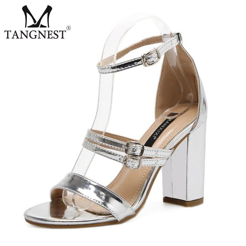 Xwz4840 Zapatos Elegantes Femeninos Muje Verano Mujeres Sandalias Lujo Hebilla Alto gold Talón Gladiadores Super Silver Moda Tangnest 6vBqwyA7B