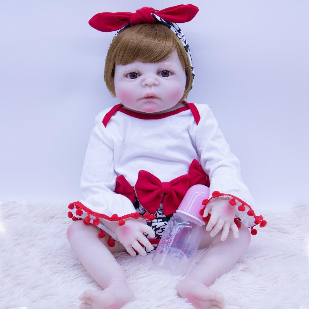 Коричневый волос Новорожденный ребенок кукла Возрожденный силикон виниловая Подарочная игрушка для девочки или мальчика красивая принцес...