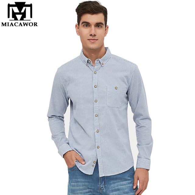 d524825aac MIACAWOR 2018 New 100% cotton Striped Men Shirts Spring Long Sleeve Casual  Shirts Camisa Masculina Plus Size 4XL MC326